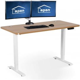 Electric Standing Desk, 55 x 28 Inches Height Adjustable Dual Motor Stand up Desk Workstation, Full Sit Stand Home Office Table, Whole-Piece Desk Board (White Frame/Yellow Top)