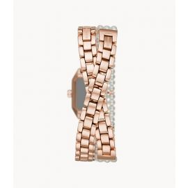 Emporio Armani AR11323 Two-Hand Pearl and Rose Gold-Tone Double-Wrap Stainless Steel Watch