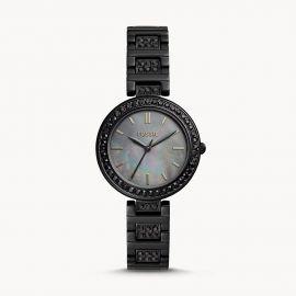 Fossil BQ 3440  Karli Three-Hand Black Stainless Steel Watch