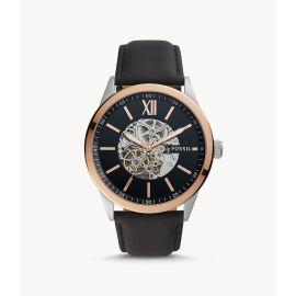 Fossil BQ2383 48mm Flynn Automatic Black Leather Men's Watch