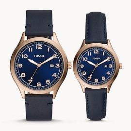 Fossil BQ2470 His and Her Wylie Three-Hand Navy Leather Watch Box Set