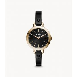 Fossil BQ3027 Classic Minute Three-Hand Rose Gold-Tone Black Stainless Steel Watch