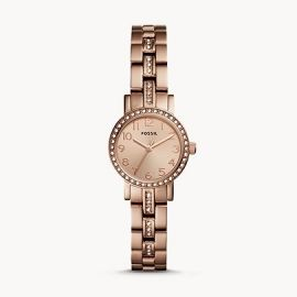 Fossil BQ3371 Shae Mini Three-Hand Stainless Rose Gold Tone Steel Watch