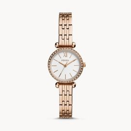 Fossil BQ3502 Tillie Mini Three-Hand Rose Gold-Tone Stainless Steel Watch