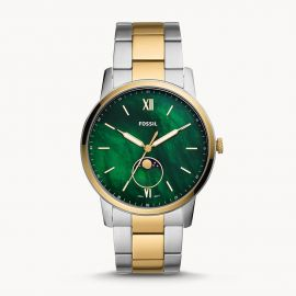 Fossil FS5572 Minimalist Two-Tone Stainless Steel Grn MOP colored Dial Watch