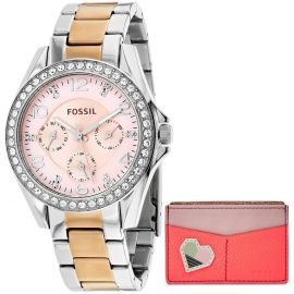 Fossil Women ES4249SET Riley Stainless Steel Crystal Pave Chronograph Watch and Wallet Set