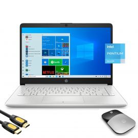 """HP 14"""" HD Micro-Edge Slim Laptop Platinum, Intel Quad-Core Pentium Silver N5030 up to 3.10GHz, 8GB RAM, 256GB SSD, USB-C, Webcam, HDMI, Ethernet, Wireless Mouse, Mytrix HDMI Cable, Win 10"""