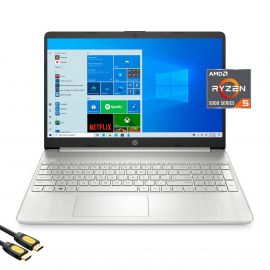 HP 15.6'' FHD Micro-Edge Laptop, AMD Hexa-Core Ryzen 5 5500U (beat i5-10500) up to 4.0GHz, 8GB RAM, 512GB PCIe SSD, USB-C, HDMI, Wi-Fi, BT, Keypad, Webcam, SD Card Reader, Mytrix HDMI Cable, Win 10