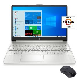 """HP 15.6"""" FHD Slim and Light Laptop for Business and Student, AMD Athlon Silver 3050U, 8GB RAM, 256GB SSD, USB-C, HDMI, Wi-Fi, Bluetooth, Webcam, Mytrix Wireless Mouse, 1 Year Microsoft 365, Win 10"""