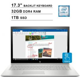 """HP Envy 17.3"""" Touchscreen IPS FHD Laptop, i7-10510U up to 4.90 GHz, NVIDIA MX250 Graphics, 32GB RAM, 1TB SSD, USB-C/DP, Backlit, FP Reader, DVD-RW, RJ-45 Ethernet, Win 10 (Used Like New)"""