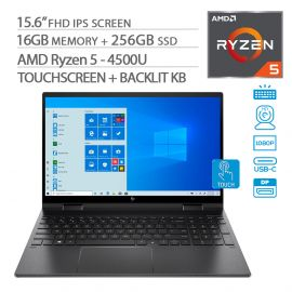 "HP Envy x360 2-in-1 Touchscreen Laptop, 15.6"" IPS FHD, Ryzen 5-4500U 6-Core up to 4.00 GHz, 16GB RAM, 256GB SSD, USB-C/DP, HDMI 2.0, Backlit KB, WebCam, Win 10"
