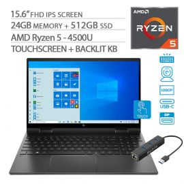 "HP Envy x360 2-in-1 Touchscreen Laptop, 15.6"" IPS FHD, Ryzen 5-4500U 6-Core up to 4.00 GHz, 24GB RAM, 512GB SSD, USB-C/DP, HDMI 2.0, Backlit KB, WebCam, Mytrix Ethernet Hub, Win 10"