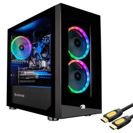 iBUYPOWER Desktop Gaming PC AMD Ryzen 3 3100 Up To 3.9GHz Radeon RX 550 2GB 32GB DDR4 RAM 500GB SSD+1TB HDD RJ-45 LAN Wi-Fi HDMI Mytrix HDMI Cable Win 10 w/Keyboard Mouse