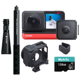 Insta360 ONE R Sport Action Video Camera Bundle: 4K Wide Angle Lens, 5.7K Dual-Lens w/Guards, Bullet Time Accessory, Stabilization Waterproof Voice Control Touch, Mytrix 128GB U3 SD Card