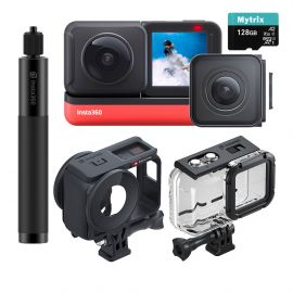 Insta360 ONE R Sport Action Video Camera Bundle: 4K Wide Angle Lens, 5.7K Dual-Lens w/Guards, Invisible Selfie Stick, Dive Case, Stabilization Waterproof Voice Control Touch, Mytrix 128GB U3 SD Card