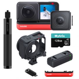 Insta360 ONE R Sport Action Video Camera Bundle: 4K Wide Angle Lens, 5.7K Dual-Lens w/Guards, Invisible Selfie Stick, Extra Battery w/Charger, Stabilization Waterproof Touch, Mytrix 128GB U3 SD Card