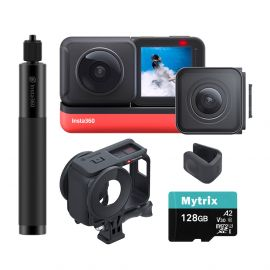 Insta360 ONE R Sport Action Video Camera Bundle: 4K Wide Angle Lens, 5.7K Dual-Lens w/Guards, Invisible Selfie Stick, Stabilization Waterproof Voice Control Touch, Mytrix 128GB U3 SD Card