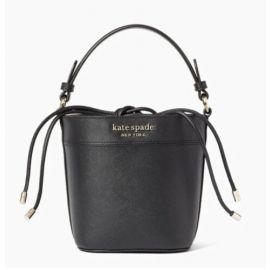 Kate Spade Cameron Small Bucket Black Leather Shoulder Bag WKRU6712