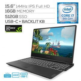 """Lenovo Legion Y540 144Hz Gaming Laptop, 15.6"""" IPS Full HD, Core i7-9750H Hexa-Core up to 4.50 GHz, GTX 1660Ti, 16GB RAM, 512GB SSD, Backlit KB, HDMI/Mini DP, RJ-45, USB-C, Win 10"""