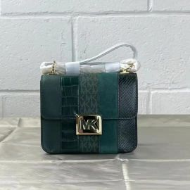 MICHAEL KORS 35F1G6SS5E Sonia Small Leather Studded Logo Shoulder Bag In Rcng Green Multi