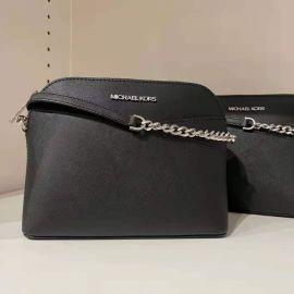 Michael Kors 35F1STVC6T Jet Set Travel Dome Crossbody Bag Leather in Black
