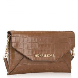 Michael Kors 35F9GTTC6E Medium Envelope Clutch Bag Handbag Purse Embossed Leather Walnut