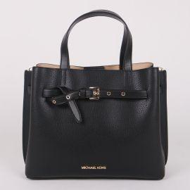 MICHAEL KORS 35H0GU5S7T Emilia Large Pebbled Leather Satchel Black