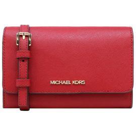 Michael Kors 35S0GTVC2L Jet Set Travel Medium Multifunction Leather Phone Crossbody Bag In Scarlet