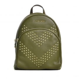 Michael Kors Abbey Medium Studded Backpack Leather Duffle Olive Green