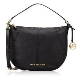 Michael Kors Bedford 35T9GBFL6L Crescent Medium Shoulder Bag In Black