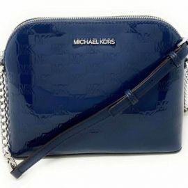 Michael Kors Cindy Dome PVC Leather Crossbody Bag Mirror Metallic Navy