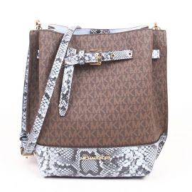 Michael Kors Emilia 35S1GU5M1B Small Bucket Messenger Bag In Natural MLT