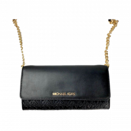 Michael Kors Jet Set Item 35T0GTTC7Y Large Vegan Faux Leather Wallet On A Chain In Black