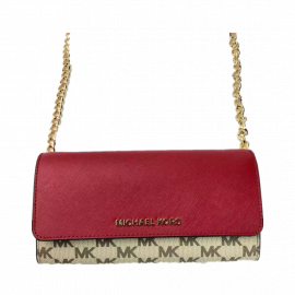 Michael Kors Jet Set Item 38S9CTTC1V Large Wallet On a Chain In Scarlet