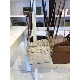 Michael Kors Jet Set Travel 35F1GTVC6B Medium Dome Crossbody Leather Bag In Vanilla