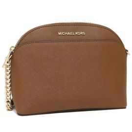 Michael Kors Jet Set Travel 35S9GTVC2L Emmy Medium Dome Crossbody Leather Bag In Luggage