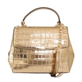 Michael Kors Karla Gold Embossed Medium Satchel Studs Handbag Leather