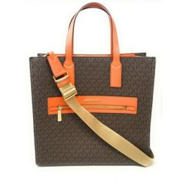 Michael Kors Kenly 35T0GY9T3B Large North South Tote PVC Leather Crossbody MK Signature In Tangerine