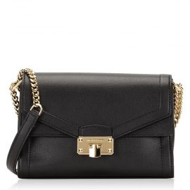 Michael Kors Kinsley Medium Shoulder Flap Leather Chain Bag Black