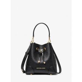 Michael Kors Mercer Gallery 32S0GZ5C0L XS Leather Convertible Bucket Crossbody Bag In Black