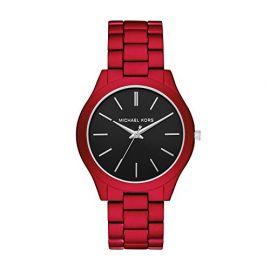 Michael Kors MK8768 Men's Slim Runway Three-Hand Red-Tone Stainless Steel Watch