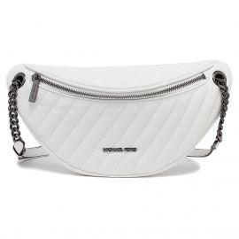 Michael Kors Peyton 35T0UP6C7U Large Vegan Faux Leather Chain Belt Bag Crossbody In Optic White