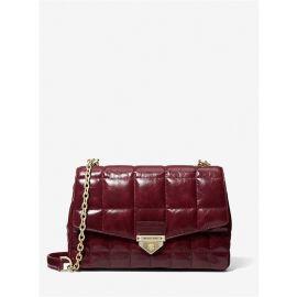 Michael Kors Soho 30F0L1SL3Y Large Chain Shoulder Leather Bag In DK BERRY