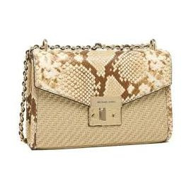 Michael Kors Straw Python Capsule Rose Medium Flap Shoulder Bag Natural Mlt