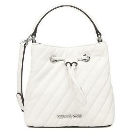 Michael Kors Suri 35T0SU2C0U Small Vegan Faux Leather Bucket Crossbody Bag In Optic White