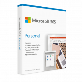 Microsoft 365 Personal 1 Year Subscription for 1 User for Windows, MacOS, iOS, Android - PC/Mac Keycard - 1TB OneDrive Cloud Storage - Premium Office apps - 12 Month Subscription