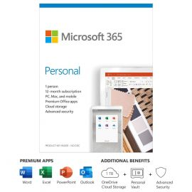 Microsoft 365 Personal - Box Pack - 1-year License - 32/64 Bit Medialess