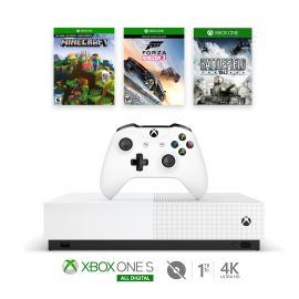 Microsoft Refurbished Xbox One S 1TB All-Digital Edition Bundle with Forza, Minecraft and Battlefield 1943 - Disc-free Console, Wireless Controller and 3 Game Keycards