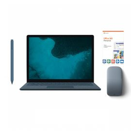 """Microsoft Renewed Surface Laptop 2 Cobalt Blue 13.5"""" Touchscreen PC, Core i5, 8GB RAM, 256GB SSD, Win 10 w/Ice Blue Surface Pen, Arc Mouse, Office 365 Personal"""