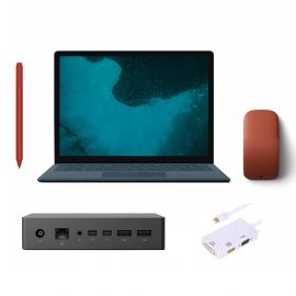 "Microsoft Renewed Surface Laptop 2 Cobalt Blue 13.5"" Touchscreen PC, Core i5, 8GB RAM, 256GB SSD, Win 10 w/Poppy Red Surface Pen, Arc Mouse, Dock, Converter"